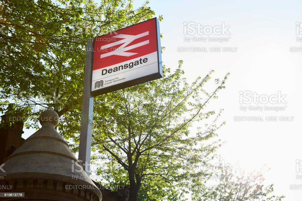 Manchester, UK - 10 May 2017: Exterior Of Deansgate Railway Station In Manchester stock photo