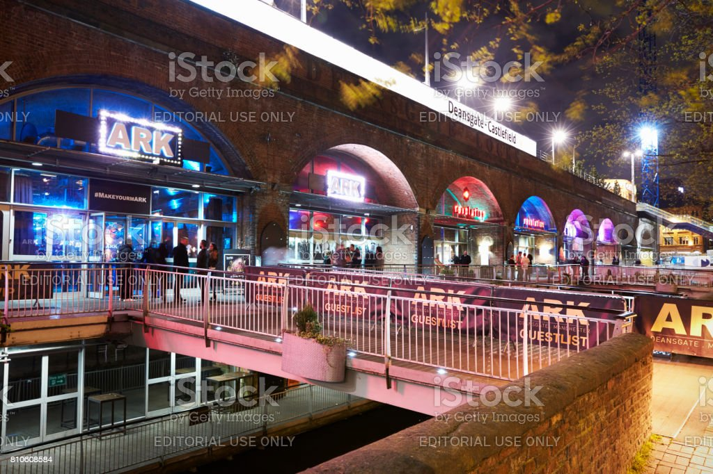 Manchester, UK - 4 May 2017: Bars In Manchester's Deansgate At Night stock photo