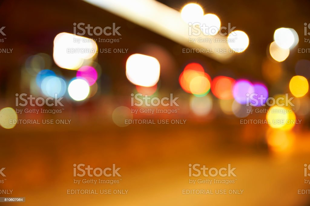 Manchester, UK - 4 May 2017: Defocused Shot Of Bars In Manchester's Deansgate At Night stock photo