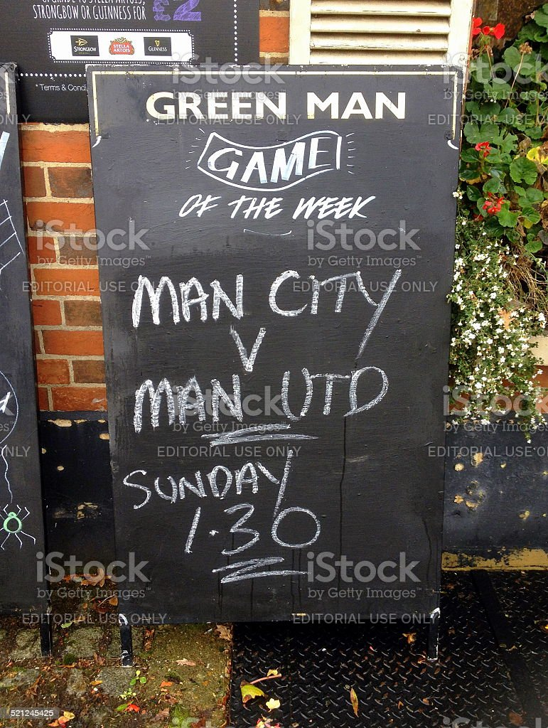 Manchester United versus Manchester City stock photo