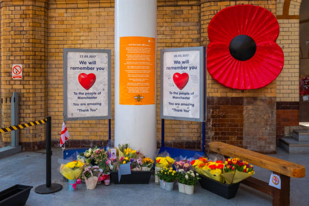 Manchester Victoria station during the 1 year anniversary of the attack on Manchester Arena stock photo
