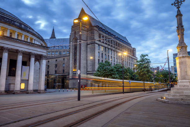 Manchester's St Peters Square with city Tram. stock photo