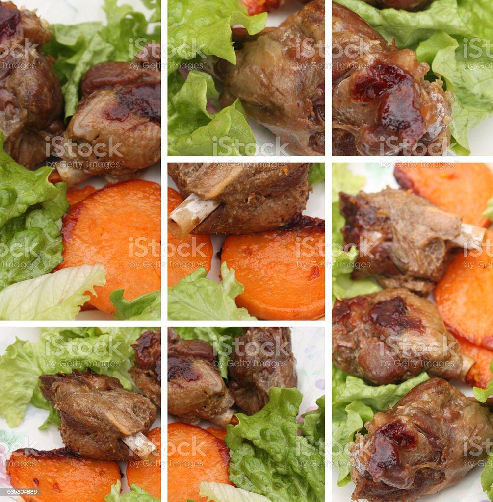 Manchons de Canard confits Patate douce stock photo
