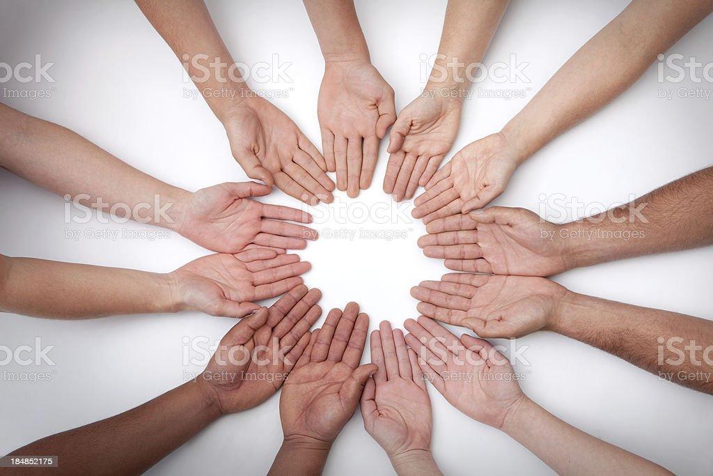 Mandala of 12 Hands Palms Up stock photo