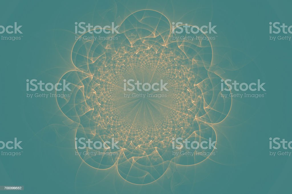 Mandala pattern Glod-on-blue stock photo
