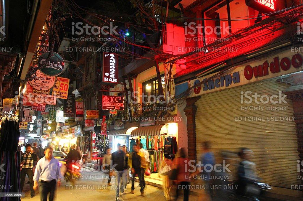 Mandala Street at Thamel district in Kathmandu, Nepal stock photo