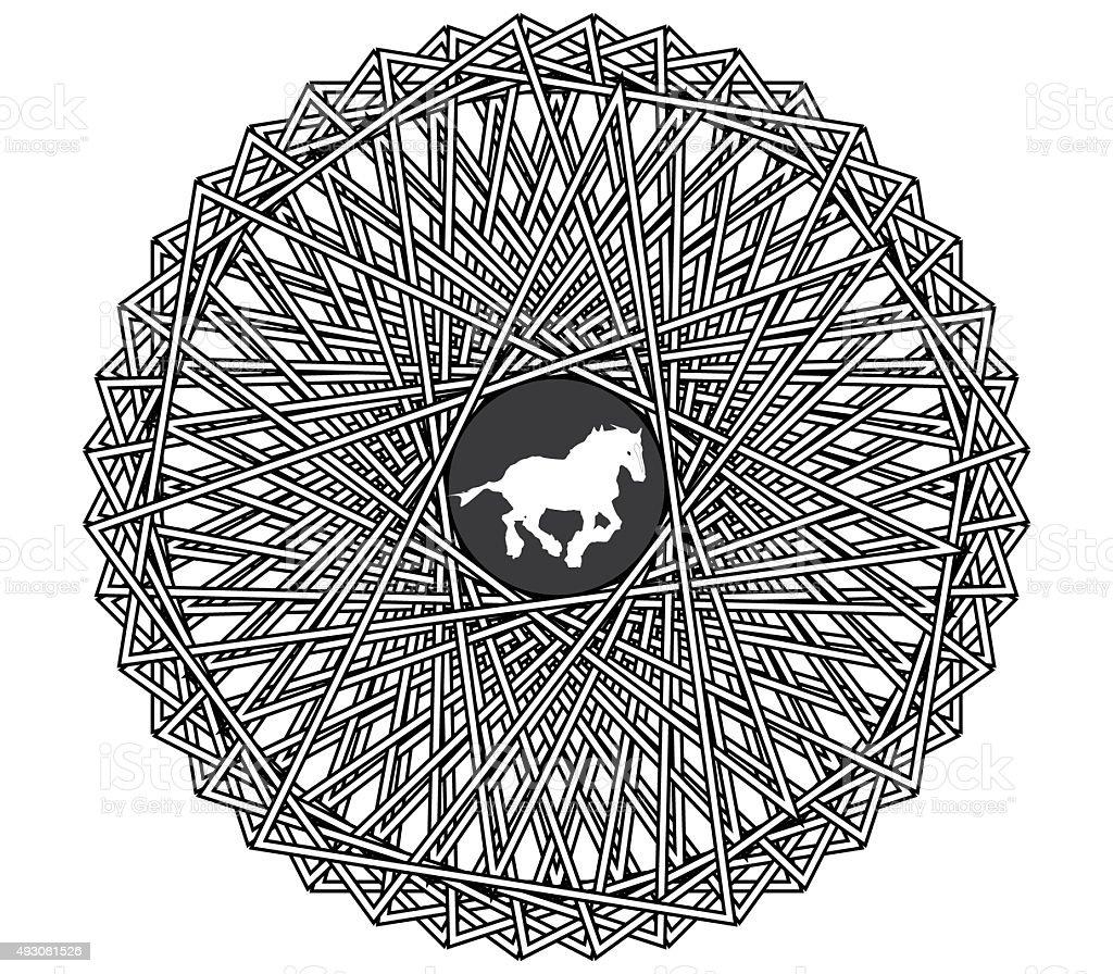 Mandala Mit Einem Pferd Stock-Fotografie und mehr Bilder von 2015 ...