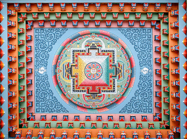 A mandala with beautiful shapes and colors The villagers of Upper Pisang, Annapurna, Nepal, decided to build a new monastery rather than renovate their old one. This Tibetan mandala has been painted on the new monastery ceiling. place of worship stock pictures, royalty-free photos & images