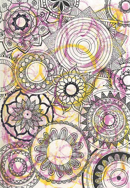 mandalas hintergrund - lotus zeichnung stock-fotos und bilder