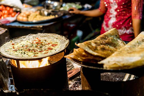 Mandalay, Myanmar Mandalay, Myanmar - Night Market Food - Dosa myanmar stock pictures, royalty-free photos & images