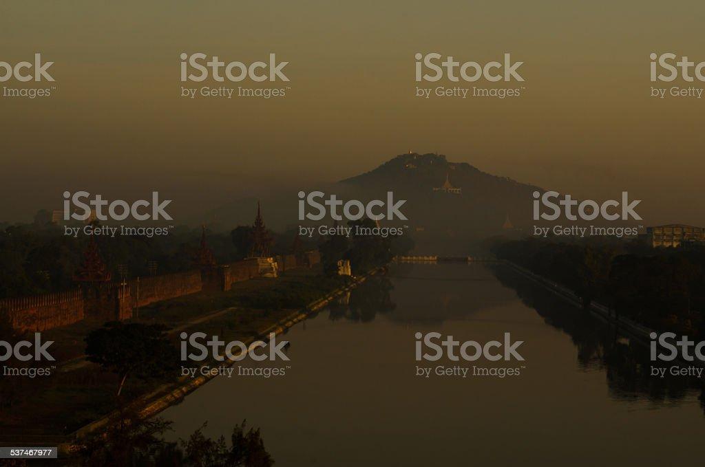 Mandalay Palace and Mandalay Hill, Myanmar stock photo