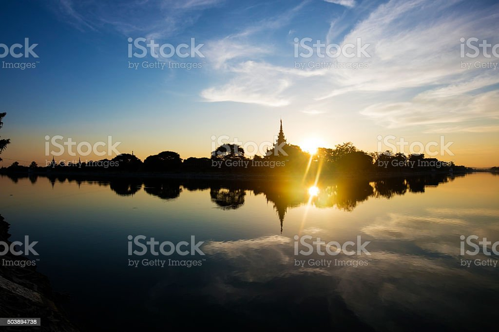 Mandalay Royal Palace at sunset. stock photo
