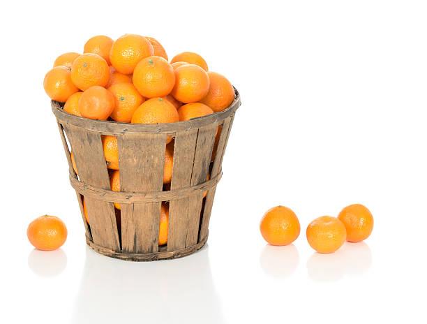 Mandarin Oranges in a Rustic Basket stock photo