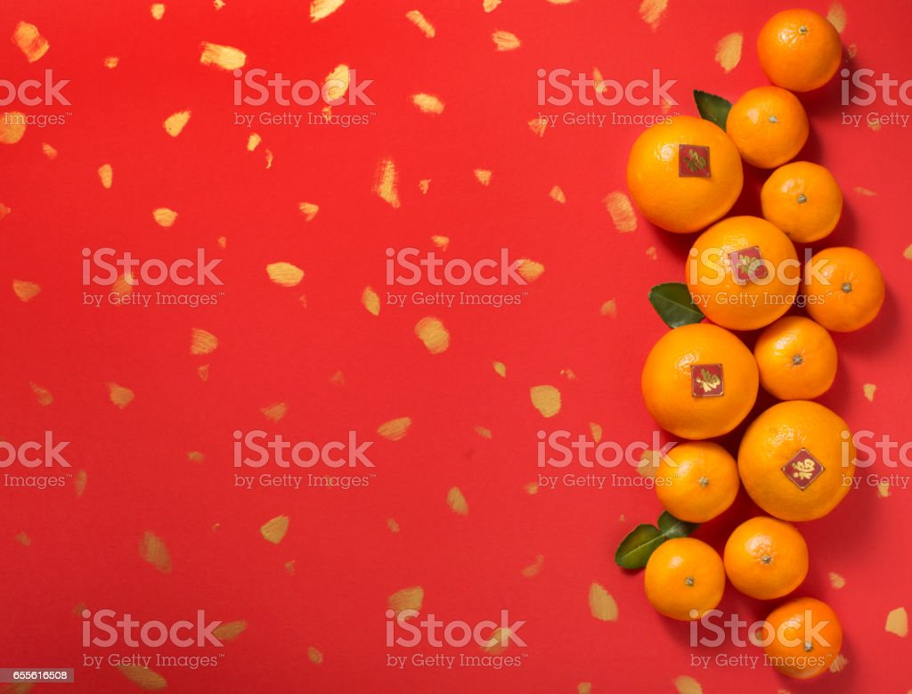 mandarin oranges on red background chinese new year theme image royalty free stock