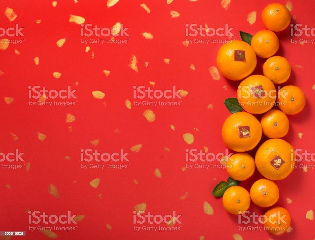 mandarin oranges on red background chinese new year theme image royalty free stock