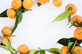 Mandarin oranges on white background