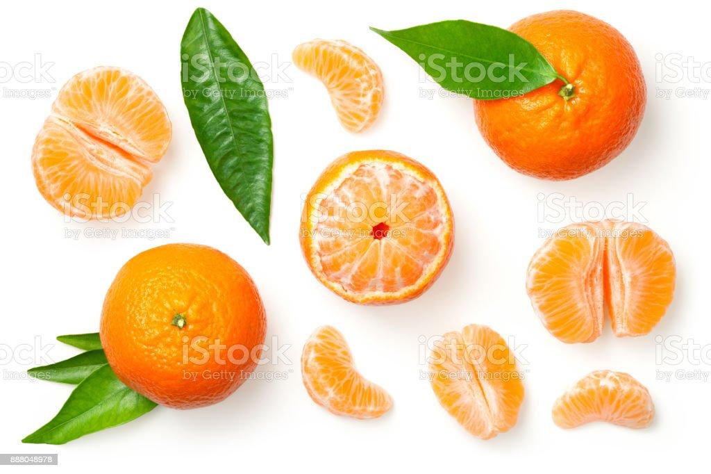白色背景 Mandarines 隔離 - 免版稅一片圖庫照片