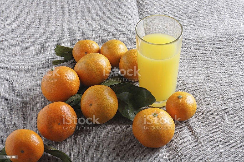 Mandarins on canvas royalty-free stock photo