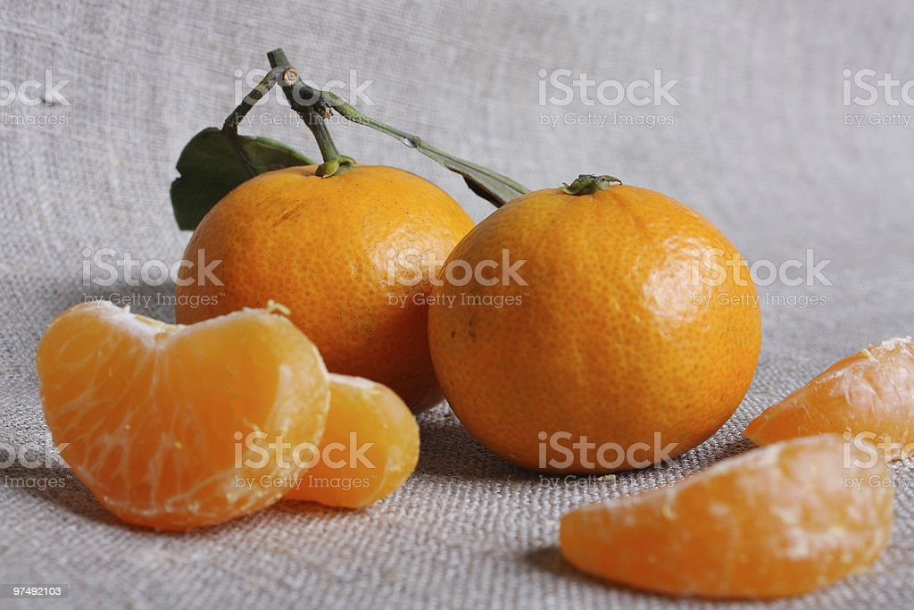 Mandarins on canvas royalty-free stock photo