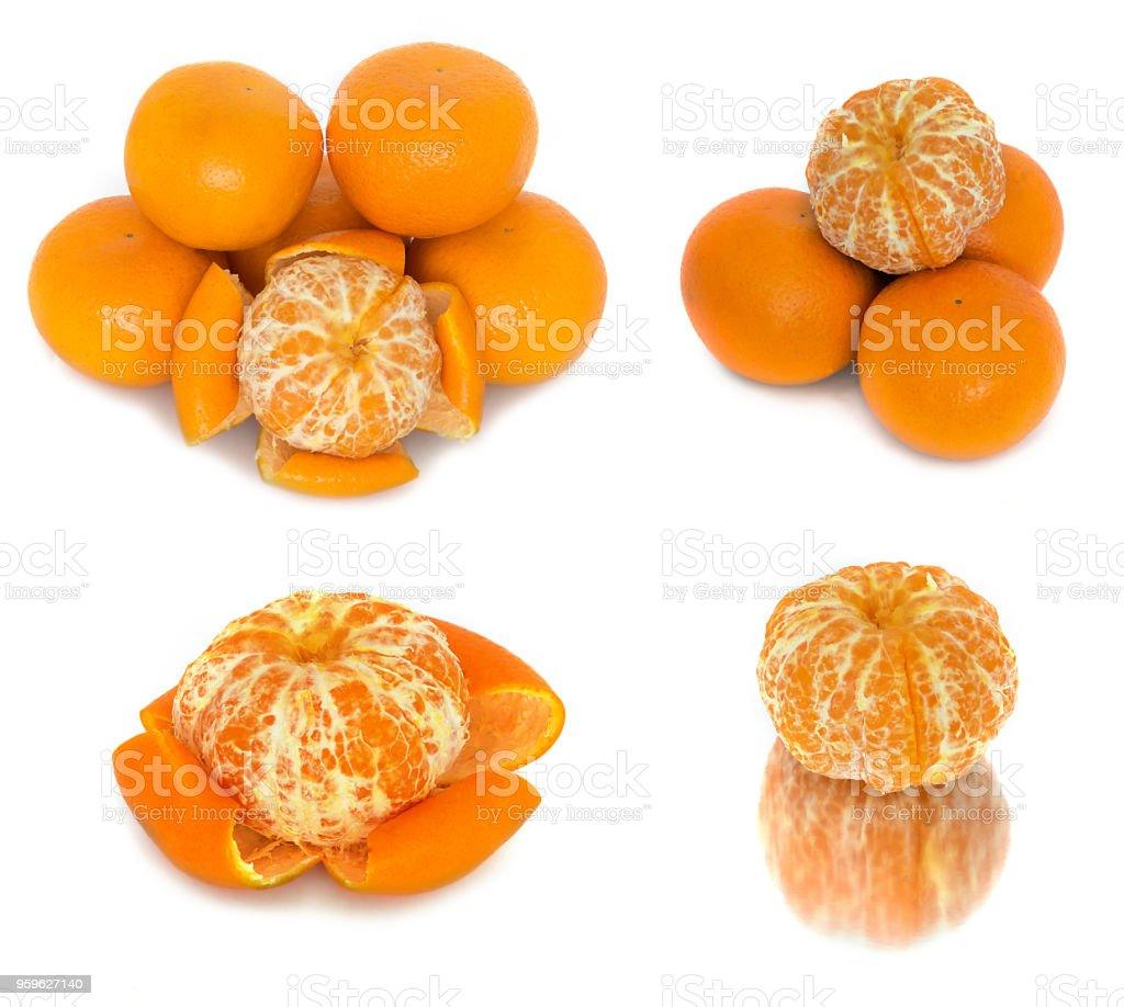 mandarines varias opciones sobre un fondo blanco. Cítricos sin fondo. - Foto de stock de Alimento libre de derechos