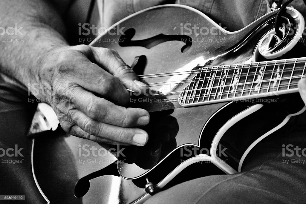Mandolin Music black and white stock photo