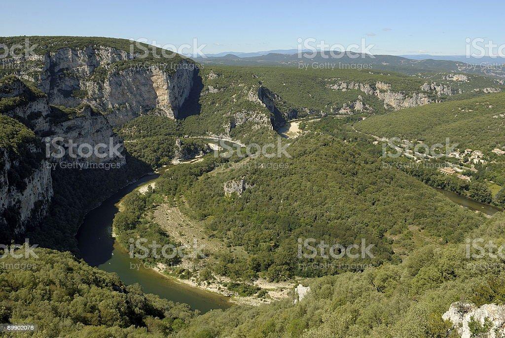 Méandre dans les gorges de l'ardèche, France royalty-free stock photo