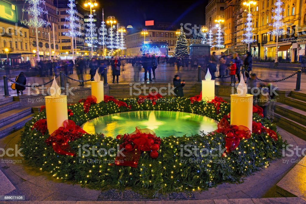 Mandusevac fountain on Ban Jelacic square decorated with advent...
