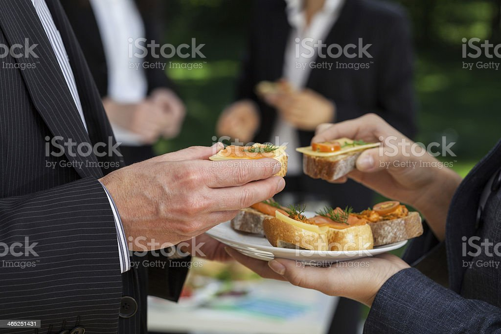 Maneger's conversations at the lunch stock photo