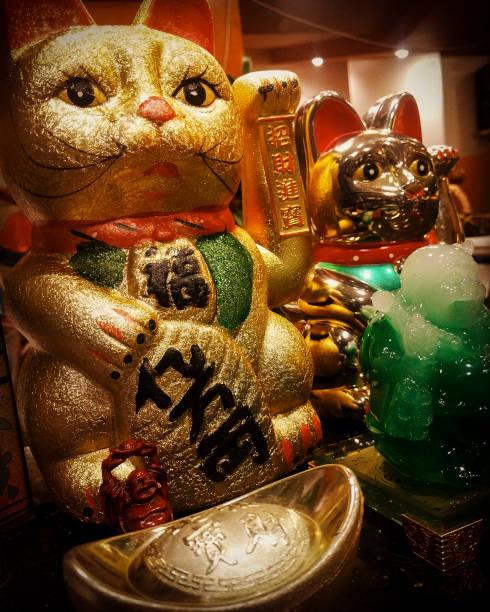 Maneki-Neko glückliche Katze Statuen – Foto