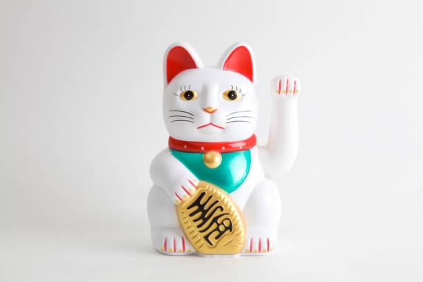 maneki-neko blanco - buena suerte fotografías e imágenes de stock