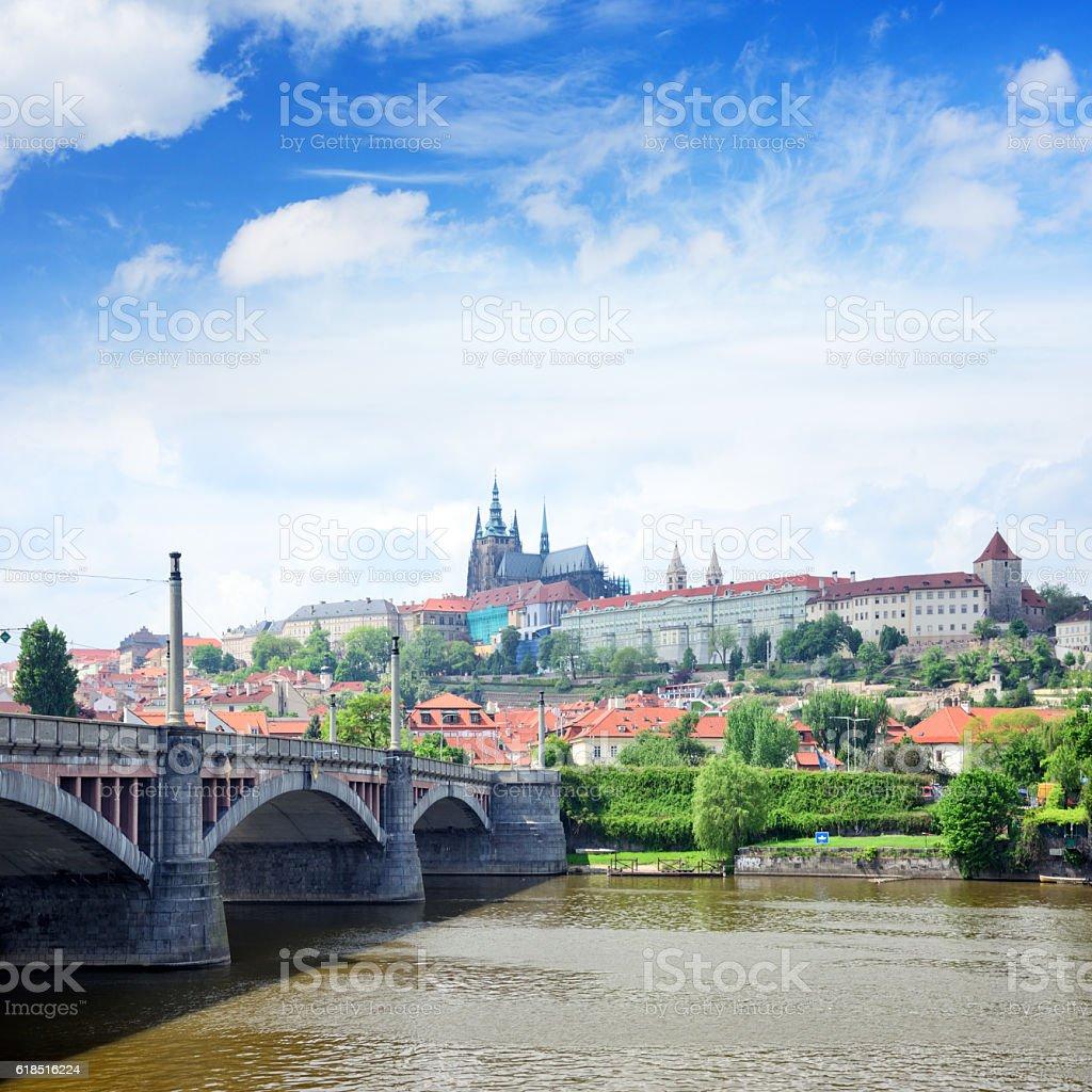 Manes Bridge, Prague stock photo
