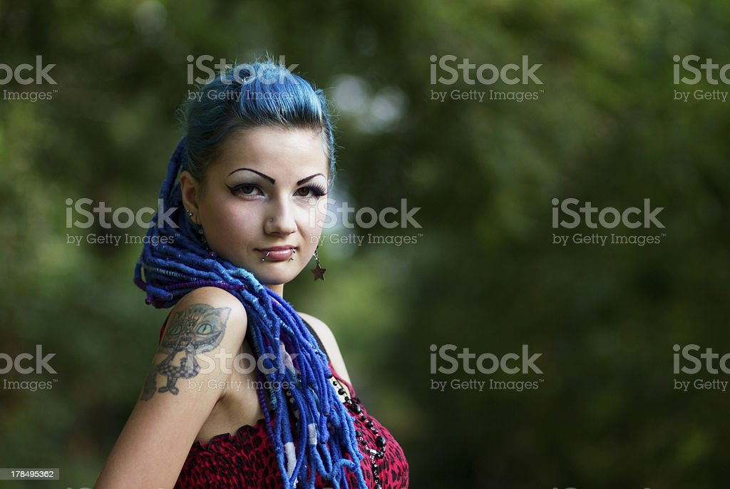 Manga girl with dyed turquoise hair royalty-free stock photo