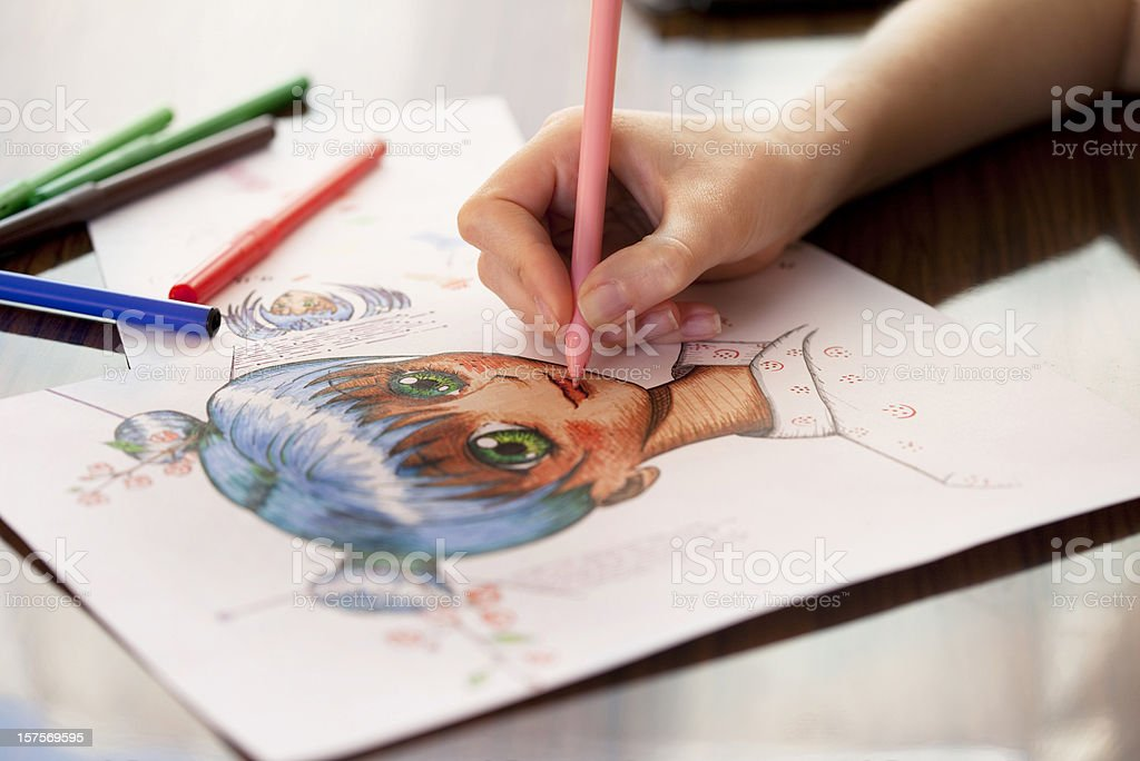 Manga painter stock photo