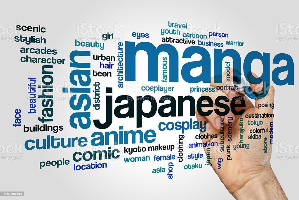 Conceito de nuvem de palavra de Manga - fotografia de stock