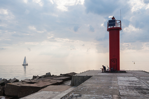 Mangalsala lighthouse on a summer evening
