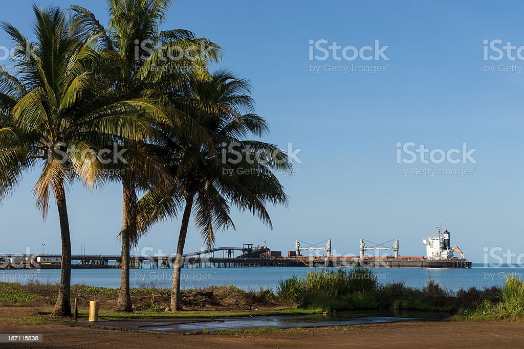 Manganese freight ship loading at Groote Eylandt royalty-free stock photo