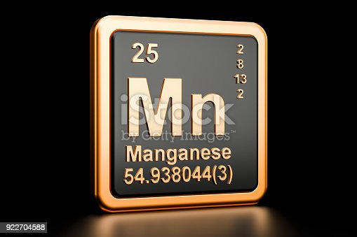 istock Manganese Mn, chemical element. 3D rendering isolated on black background 922704588