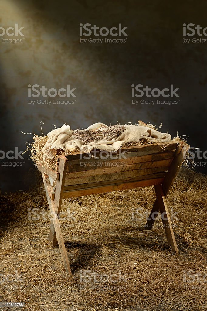 Manger and Crown of Thorns stock photo