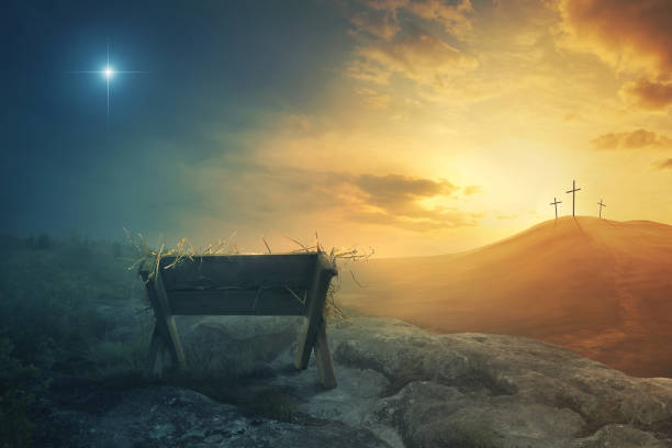 Manger and the cross A wooden manger and three wooden crosses religious cross stock pictures, royalty-free photos & images