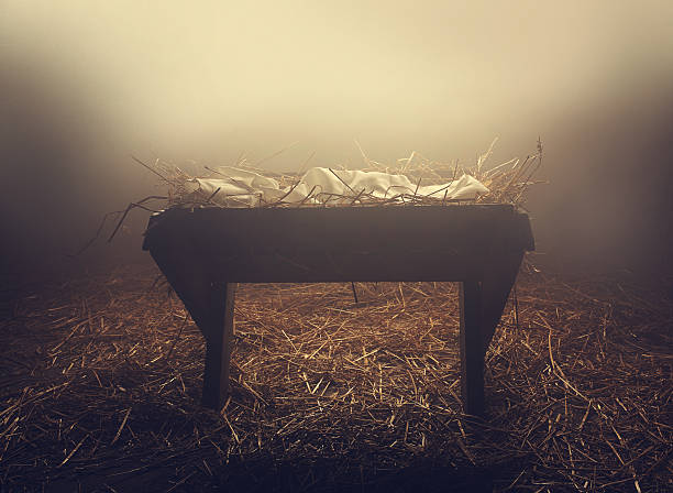 manger at night under fog - nativity scene stock pictures, royalty-free photos & images