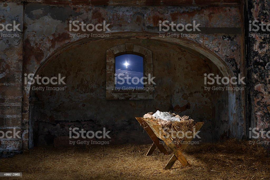 Manger in Old Barn stock photo