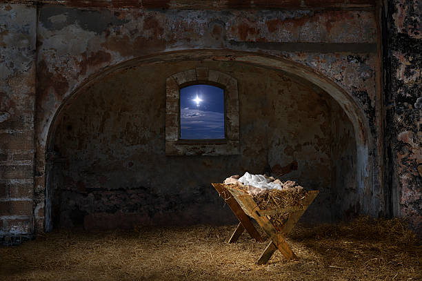manger in old barn - nativity scene stock pictures, royalty-free photos & images