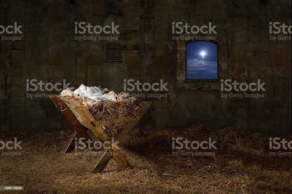 Manger in Old Barn with window stock photo