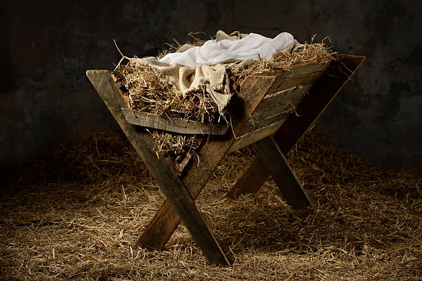 manger in stable - nativity scene stock pictures, royalty-free photos & images