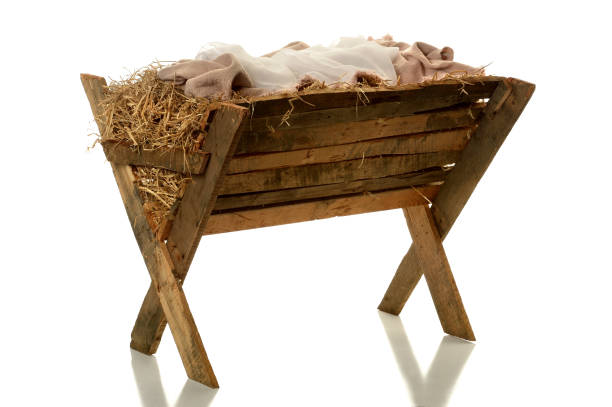 manger over white background - nativity scene stock pictures, royalty-free photos & images