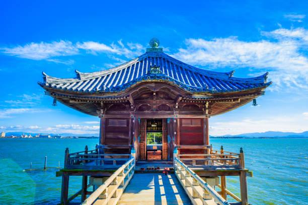 Mangetsuji Ukimido in Otsu city, Shiga Prefecture, Japan. Shiga,Japan - December 5, 2017: Mangetsuji Ukimido in Otsu city, Shiga Prefecture, Japan. shinto stock pictures, royalty-free photos & images