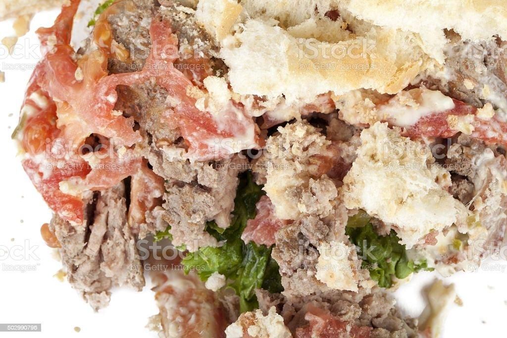 mangled hamburger stock photo