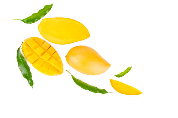 Mango and leaves flat lay on isolated white background Mango and leaves flat lay on isolated white background, top view mango stock pictures, royalty-free photos & images