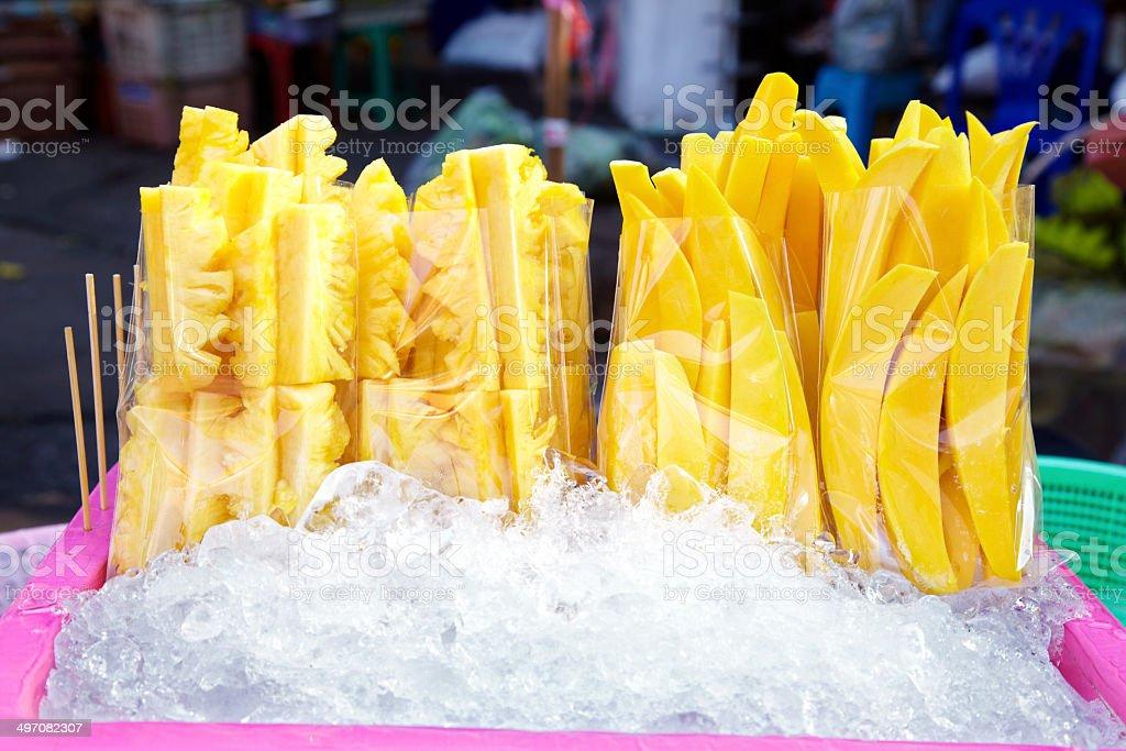 mango and pine apple slice royalty-free stock photo