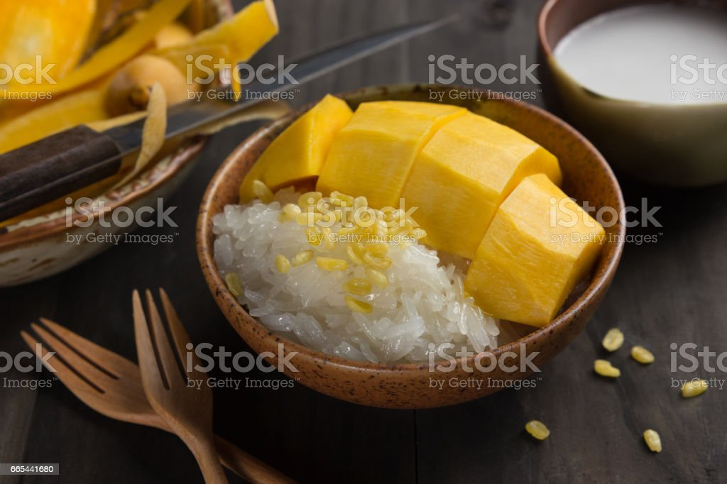Mango and sticky rice stock photo